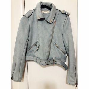 Zara Jacket & Coats: Blue Suede Moto Jacket